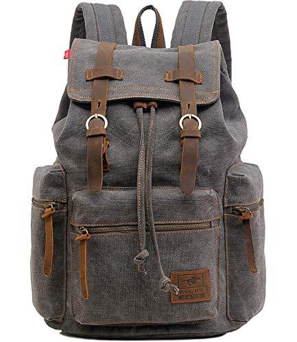 """HuaChen Vintage Travel Canvas Leather Backpack,17"""" Laptop Backpacks Rucksack,Shoulder Camping Hiking Backpacks School Bag Bookbag for Men Women AUGUR (M32_Gray_Large)"""