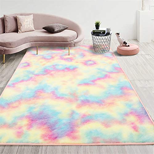Goideal Soft Rainbow Area Rug for Girls Room, Fluffy Colorful Girls Rugs Cute Fuzzy Floor Carpets Kids Playmats for Baby Nursery Princess Room Bedroom Home Decor, 4x5.9 Feet