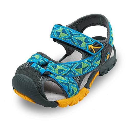 Bwiv Sandalias Velcro para niño con Plantillas Forradas de Piel Sandalias de Playa duraderas Azul Turquesa 34,5/35 EU
