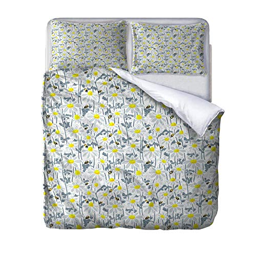 HLLIZ Super King Duvet Cover Set, Bee flower Printed Quilt Bedding Set 3Pcs With Zipper Closure In Polyester, 1 Quilt Cover 2 Pillowcases, 260 cm W X 220 cm H