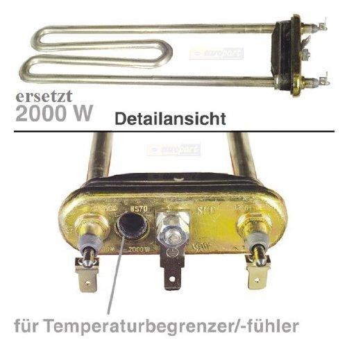 Heizelement Heizung für Siemens Bosch Waschmaschine 1950 W ersetzt 2000 W mit Öffnung für Temperaturbegrenzer WX WXL WFO MAXX