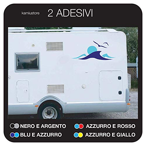 kamiustore Adesivo Tramonto su Onde per Camper, roulotte e Barche in Vinile - Kit 12 Adesivi componibile (Blu/Azzurro)