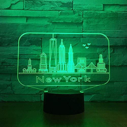 Edificio de la ciudad de Nueva York luz de noche 3D colorida atmósfera Led lámpara de mesa de dormitorio encantador 7 cambio de color 3D USB Led luz de noche