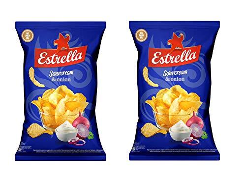 Estrella Patatas fritas (crema agria y sabor a cebolla), 180 g - Pack de 2