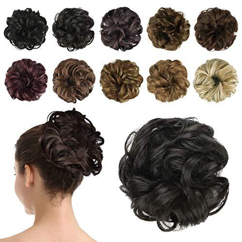 BARSDAR Postiche Chignon Cheveux Naturel Chignon Effet Decoiffe MéChéS Bouclé Chouchous Extensions de Cheveux Scrunchies OnduléS Donut Mariage pour Femme
