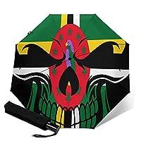 ドミニカ国の国旗の頭蓋骨 人気 おしゃれ 傘 レディ雨傘 折りたたみ傘 三つ折り傘 自動傘 自動開閉 ワンタッチ 遮光 遮熱 晴雨兼用 耐風撥水 男女兼用