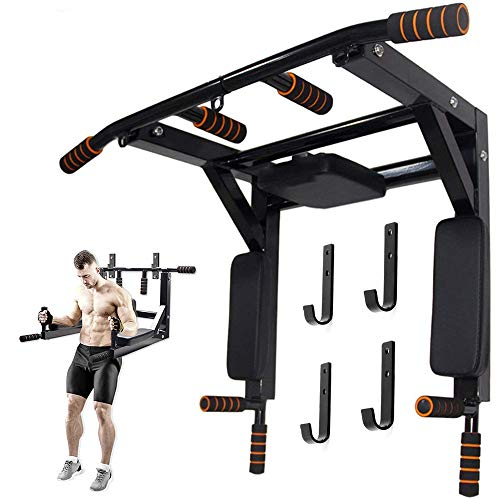 ZXMT Wall Mounted Pull Up Bar Dip Stand Power Tower Set Kit Wall Mounted Chin Up Bar for Indoor Home Gym Workout, Multifunctional Fitness Training Equipment Supports to 440 Lbs