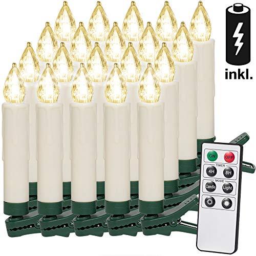 20 LED Weihnachtsbaumkerzen I Kabellos I Inkl. Batterien I Warmweiß I Fernbedienung I Timerfunktion I Flackern I Dimmbar I Weihnachtskerzen