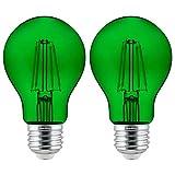 Sunlite 81083 Led Filament A19 Standard 4.5 (60 Watt Equivalent) Colored Transparent Dimmable Light Bulb, 2 Pack, Green