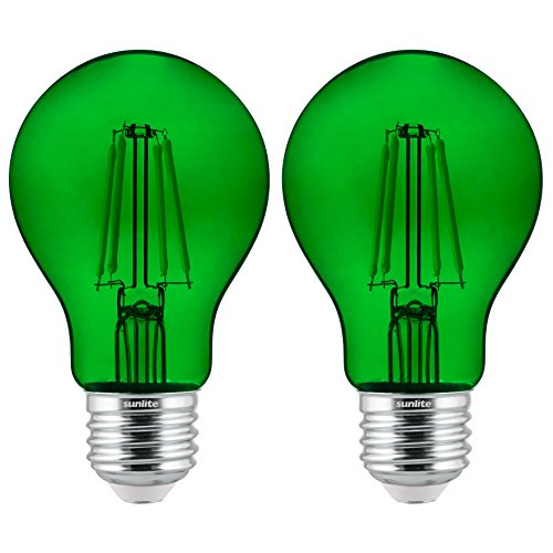 Sunlite 81083 Led Filament A19 Standard 4.5 (60 Watt Equivalent) Colored Transparent Dimmable Light Bulb, 2 Pack, Green, 2 Count