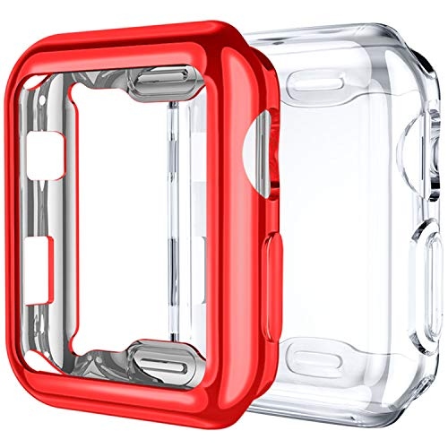 Upeak Compatibile con Apple Watch Series 3 Custodia 42mm, 2 Pacchi Protettiva in Morbido TPU Compatibile con iWatch Series 1/2/3, Chiaro/Rosso