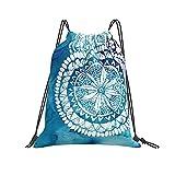 QUEMIN Classic Drawstring Bag Azul Acuarela Patrón geométrico Gym Sack Bag Mochila con cordón Bolsa de Deporte de poliéster para Hombres y Mujeres
