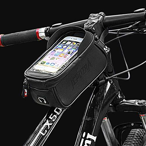 JEPOZRA Bolsa de Bicicleta, Bolsas Impermeable para Bicicleta de Montaña con Pantalla Táctil y Visera, Bolso del Marco de la Bici para Teléfonos Móviles de Menos 6.5 Pulgadas (con el Visera)