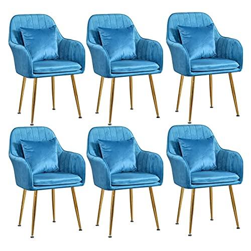 Juego de 6 sillas de comedor de terciopelo con cojín trasero patas de metal dorado silla de comedor Simplicity moderna silla de escritorio tapizada con acento para oficina en casa (color amarillo)