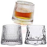 set di 3 bicchieri da whisky con base sferica e girevole, in confezione regalo, perfetti per cocktail scotch, bourbon e old fashioned, cognac, liquore