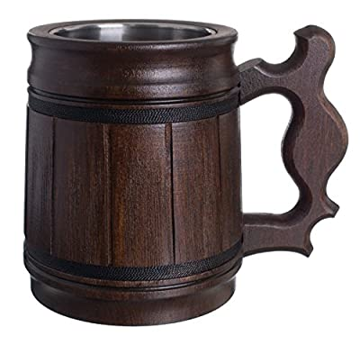 Handmade Beer - Mug Oak - Wood Stainless Steel - Cup Gift Natural - Eco-Friendly Wooden Tankard 0.3L 10oz Classic Brown