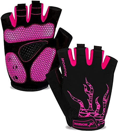 Mens Cycling Gloves,Breathable Outdoor Bicycle Glove Half Finger biking Gloves for Women Anti Slip Mountain Road Bike Glove for Gym MTB Riding Running Exercising (Large,Pink)