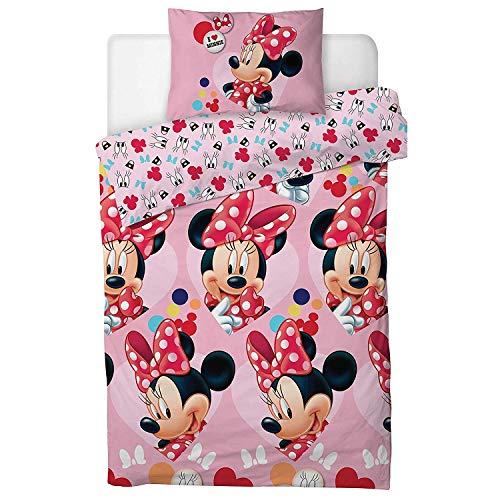 Disney Set copripiumino singolo con Minnie e scritta 'I Love Minnie'