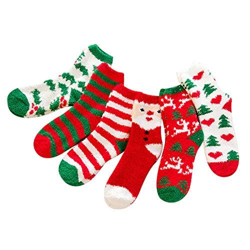 ZHAOXX 6 Pairs Fluffy Socks Women Christmas Winter Thick Warm Sleep Floor Socks Slipper Socks Santa Claus Striped Cotton Coral Fleece Socks for Women Girls