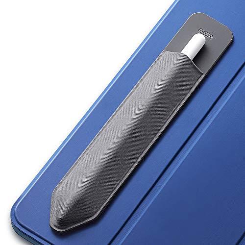 ESR Pencil Case kompatibel mit dem Apple Pencil (1. und 2. Generation) - Elastische Pencil Halter für Stylus Pen [sicherer Pencil Schutz] - Pencil Hülle mit Selbstklebender Rückseite (Dunkelgrau)