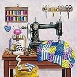 LZMAXY DIY Pintura de diamantes 5D Máquina de coser de dibujos animados Kit de rompecabezas de bordado de diamantes redondos completos mosaico de punto de cruz Sala de estar dormitorio Colgante...