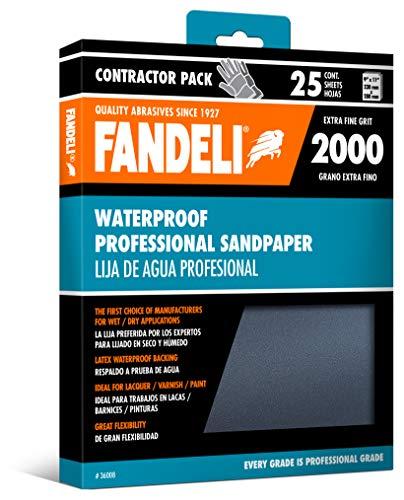 Fandeli 36008 2000 Grit Waterproof Sandpaper Sheets, 9' x 11', 25-Sheet