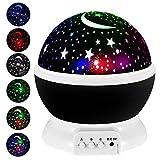 Projecteur de lune et d'étoiles, veilleuses de bébé, veilleuse d'étoiles, rotation à 360 degrés, 4 ampoules LED, convient pour les fêtes, les chambres d'enfants ou comme cadeau de Noël (Noir)