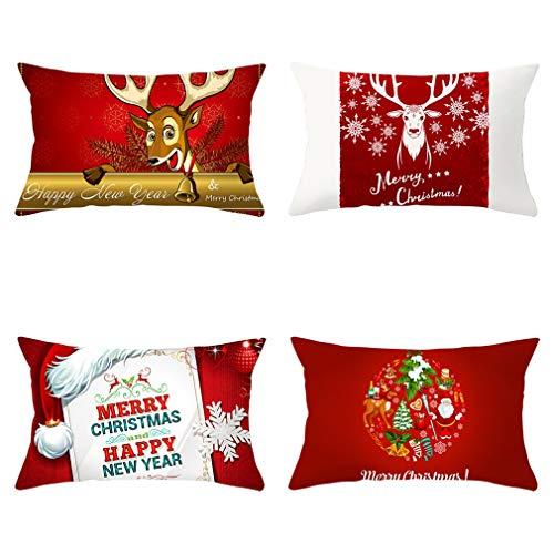 Nunubee - Juego De 4 Fundas De Almohada Decorativas con Diseño De Alce Navideño, Fundas De Almohada para Sofá Y Decoración De Oficina (Color De La Imagen, 50 X 30 Cm)
