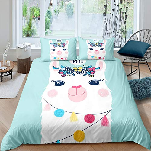Girls Cute Llama Comforter Cover Cartoon Llama Alpaca Bedding Set Lovely Animal Theme Duvet Cover for Daughter Colorful Floral Flowers Bedspread Cover Room Decor Bedclothes Single Size
