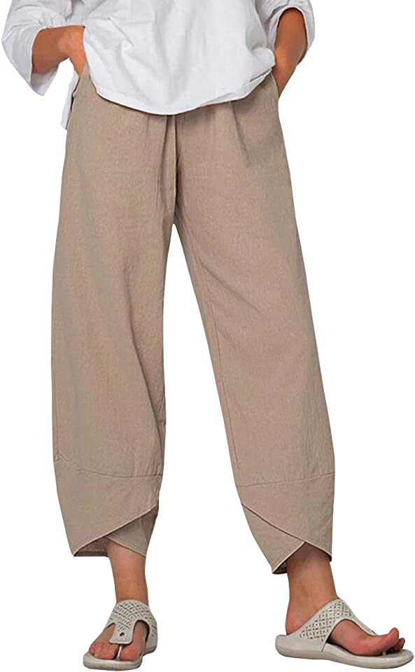 Women's Linen Trousers Summer Casual Pants Cotton Loose Fit Harlan Pants Baggy Elastic Waist Trouser with Pockets