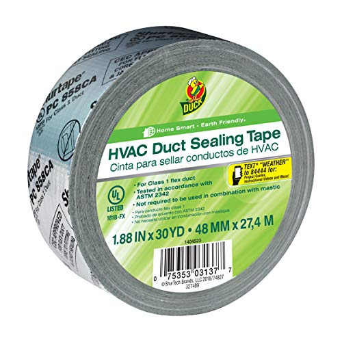 Duck Brand HVAC Duct Sealing Tape, Silver, 1.88 Inches x 30 Yards, 1 Roll (1404523)