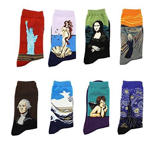 LJ calze sportive unisex, idea regalo, con dipinti retrò, calze da uomo con pittura ad olio (confezione da 8paia), Multicolour 78161