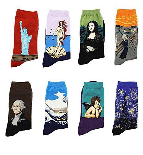 LJ Sport Kunst Socken Unisex Gedruckt Muster Retro Malerei Serie Ölgemälde Baumwolle Damen und Herren Socken EINWEG