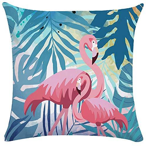 WEIANG, Federa per Cuscino con Fenicottero Rosa Tropicale su Entrambi i Lati, Dimensioni 50 x 50 cm, Poliestere, 06, 50 x 50 Centimeters