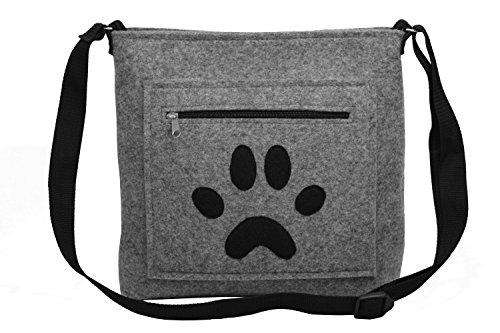 ROOGU Hund Pfote Tatze - Handmade [ extra leichte ] Handtasche Umhängetasche aus stabilisiertem Filz