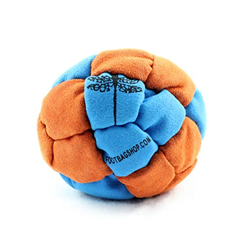 Dragonfly Footbags Blue and Orange Clipper 24 Panel Sand Filled (Hacky Sack)