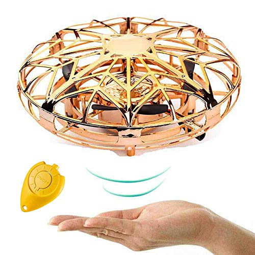 Hand Operated Drones for Kids, Mini UFO Flying Ball Toy, Hands Free Hover Sensing Obstacle Drone, Pocket Quadcopter Aircraft, Easy Control Quad for Beginners Children Adults, Gold