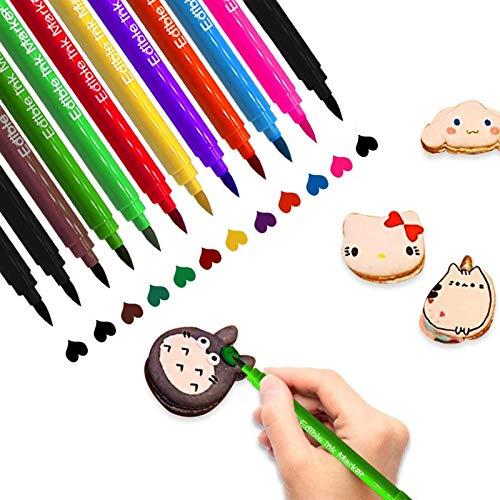12 PCS Bolígrafos Comestibles para Decoración de Pasteles, Marcador de Coloración de Doble Punta, Colorante Alimentario de Bricolaje para Decorar Huevos de Pascua, 10 Colores