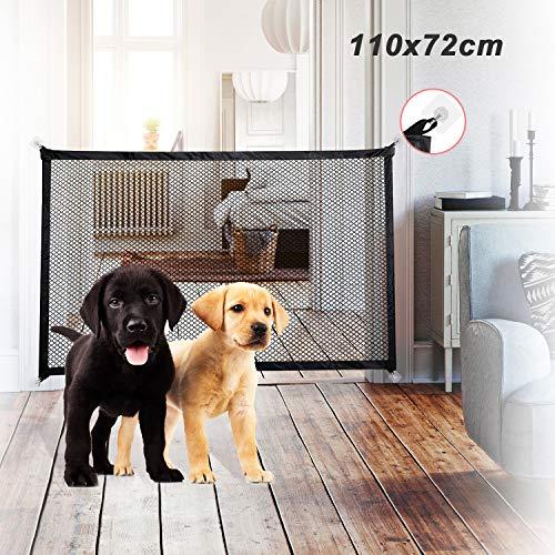 EasySMX Brama schodowa dla psów, bramka bezpieczeństwa dla niemowląt, brama dla niemowląt do drzwi, przenośna brama bezpieczeństwa dla psa, magiczna brama, klatka schodowa na zewnątrz do wewnątrz lub drzwi + 8 samoprzylepnych haczyków (ulepszona)