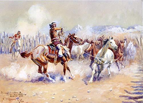 Desconocido Pintura al óleo a Mano de Pintores universitarios - 14 Pinturas Famosas - Navajo Wild Caballo Cazador Charles Marion Russell Indios Americanos - Pintado de Lienzo -tamaño01