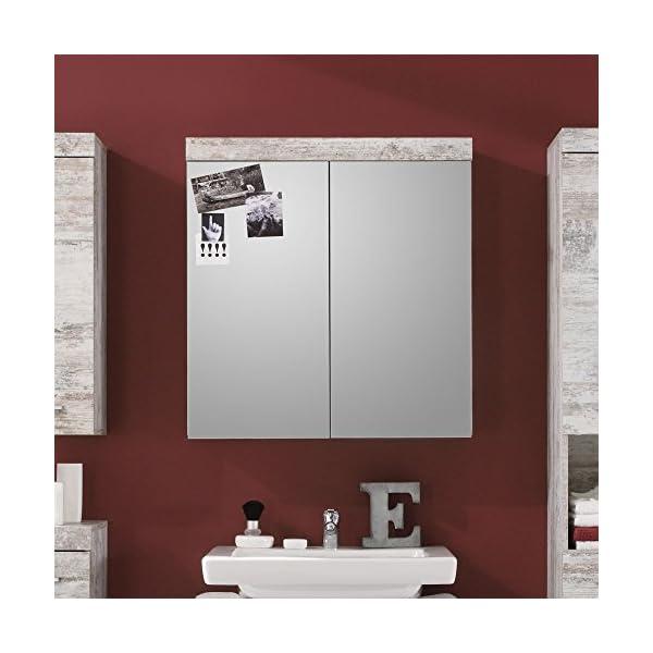 Trendteam Muebles Armario con espejo, Pino, Blanco, 72 x 79 x 23 cm
