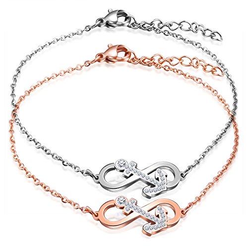 Feilok Elegant Unendlichkeit Infinity Zeichen Anker Damen Armband Edelstahl Kristall Armkette Verstellbar Charm Armkettchen Armreif, Rosegold/Silber