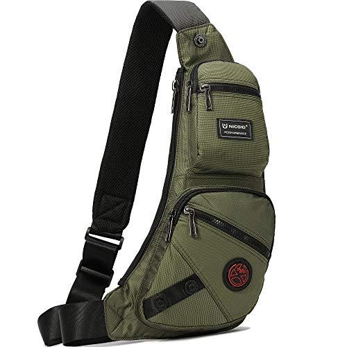Nicgid Sling Bag Chest Shoulder Backpack Fanny Pack Crossbody Bags for Men (Army green-1)