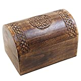 Rustic Wooden Jewelry Keepsake Storage Box with Celtic Hand Carvings (9 x 6 inches)