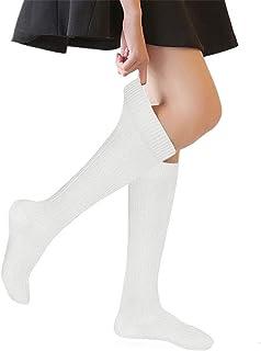 Big Girls' Cable Knit Knee High Socks 4-16 Years Uniform Tube Cotton Socks 3 Pairs