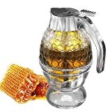 Hunnibi Honey Dispenser No Drip Glass with Stainless Steel Top - Syrup Dispenser Glass - Beautiful Honey Pot - Honey Jar with Stand
