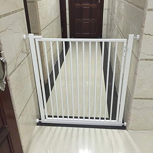 Byrhgood Indoor Safety Gates Super Gate Extra Tall Easy Close Gate, Fits Spaces Between 65cm To 140cm Wide And 120cm High (Color : White, Size : 116-120cm)