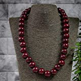 Handmade necklace wooden colorful cherry red round big chunky wooden beads single strand, natural, organic, woman accessories, one size fits all