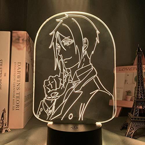 Bebé, Regalos de los hombres Anime Luces Negro Mayordomo LED Dormitorio Decoración Luces de Noche Coloridas Luces de Noche Anime Regalos 3D Luces Negro Mayordomo ERJIE