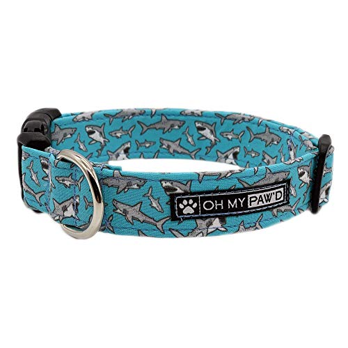 Shark Collar for Pets Size Extra Small 5/8 Inch Wide and 9-12 Inches Long - Hand Made Dog Collar by Oh My Paw'd